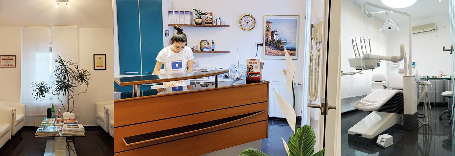 Zahnarzt Stuttgart: Die Zahnarztpraxis von Dr. medic. stom. (R) Elena Pasternak in der Arlbergstraße in Untertürkheim.